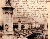 Paris DIGITAL scan Bridge Pont Alexandre French SCRIPT Antique Sepia postcard photo download