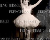 Instant Download DIGITAL scan French BALLERINA Girl Tutu Pink Sepia Vintage photo