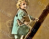 Digital Scan Sailor Boy in Blue Climbing Ladder with Cigar Box antique French postcard photo download GRADUATION greeting card idea