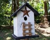 Primitive Birdhouse Folk Art Black Star White Country Ladder Rustic Garden Yard