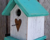 Songbird Birdhouse White Turquoise Chickadee Wren Cute Primitive Rusty Heart