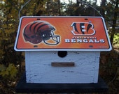 NFL Football Cincinnati Bengals Vanity License Plate Birdhouse White Functional Wooden Birdhouse Unique handmade Birdhouse