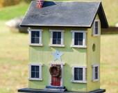 10 PERCENT OFF Primitive Birdhouse Citrus Yellow Green White Star Cranberry Door Wooden Steps Folk Art