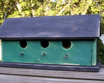 Primitive  Country Three Hole Birdhouse Separate Compartments Dark Green
