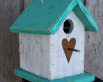 Songbird Birdhouse White Turquoise Chickadee Wren Cute Primitive Rusty Heart