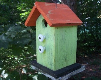 Lime Green OrangePrimitive Birdhouse with Two White Knobs