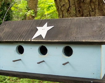 Three Hole Compartment Primitive Birdhouse Blue Separate Compartments