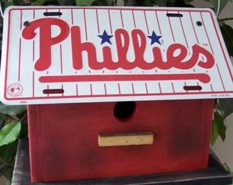 Philadelphia Phillies Baseball License Plate Birdhouse Primitive MLB