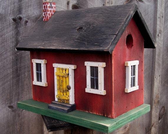 Birdhouse Primitive Country Cabin Rustic Folk Art Colonial Red Wren Chickadee Finch