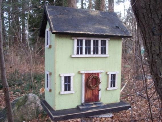 Primitive Birdhouse Salt Box Picture Window Light Mint Green