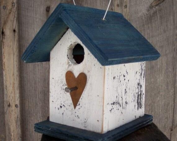 White and Blue Birdhouse Wren Chickadee Small Songbirds Metal Heart
