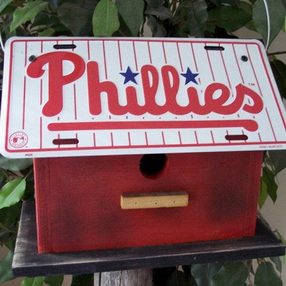 Philadelphia Phillies Baseball License Plate Birdhouse Primitive