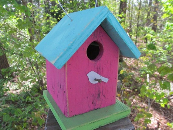 Chickadee Wren Songbirds Primitive Birdhouse Pink Turquoise Lime Green with White Bird