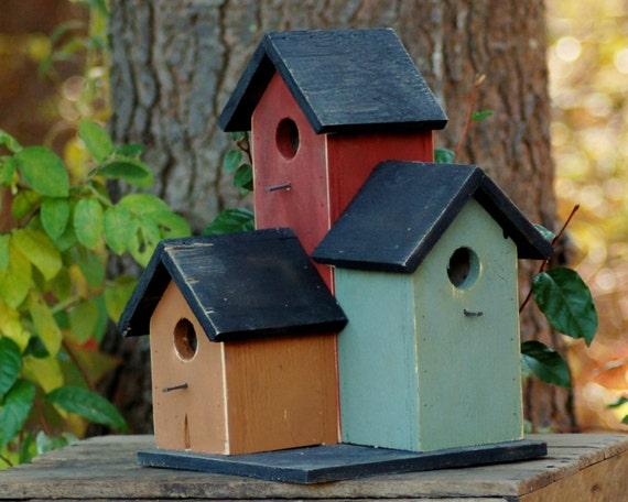 Primitive Condo Birdhouse Mustard Sage Green By