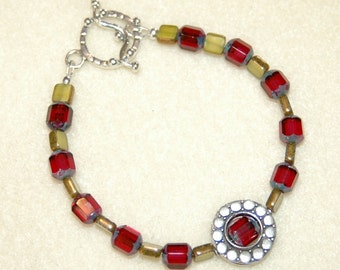 Czech Glass and Sterling Silver Bracelet