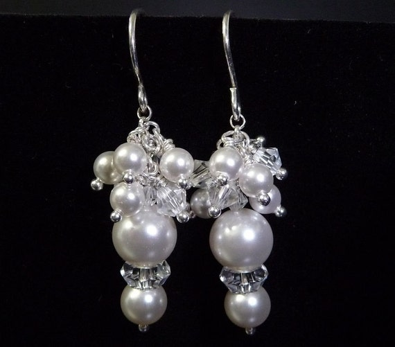 Earrings, Wedding jewellery, Pearls, Crystals, White, Dangle, Jewelry by HourGlassStudio on Etsy