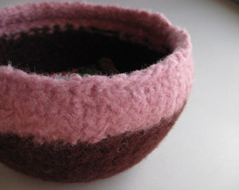 READY TO SHIP / Wool Felted Bowl - Chocolate and Pink