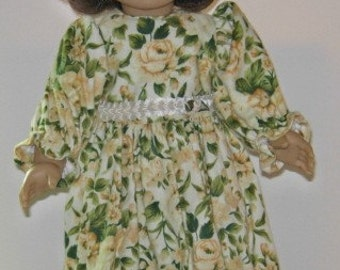 """18"""" doll outfit in flannel with yellow flowers"""