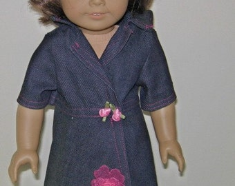 American Girl doll denim wrap dress