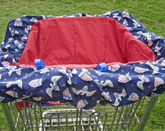 Shopping cart cover for boy or girl in patriotic theme.