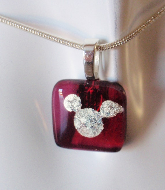 Mickey Mouse Necklace Pendant - Amethyst Purple Mickey Dichroic Fused Glass Necklace Pendant - Free Shipping