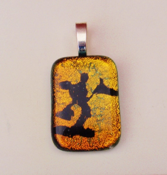 Mickey Mouse Necklace Pendant -  Mickey Dichroic Fused Glass Necklace Pendant - Sunset Orange -Free Shipping