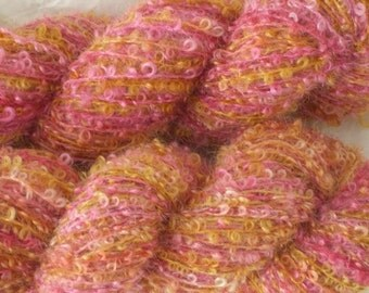 Boucle Yarn, Mohair Blend, Handpainted, Island Sunset