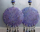 RESERVED for ROSALIE Distressed Handpainted Brass Earrings with Glass & Crystal Dangles