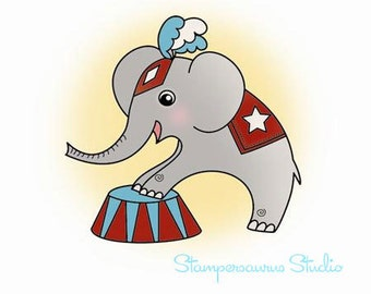 CIRCUS ELEPHANT Clear Rubber Stamp