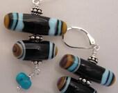 Turquoise Windchimes Lampwork Sterling Silver Earrings