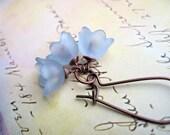 Baby Blue Flower earrings dainty dangle earrings bellflower earrings flower Jewelry
