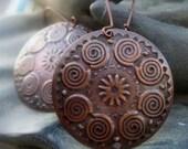 Boho earrings Antiqued copper earrings round dangle earrings spiral gift for her Bohemian jewelry