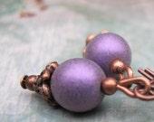 Rustic simple small Purple earrings