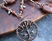 Tree of Life necklace brown stone necklace Bohemian Jewelry Copper Jewelry