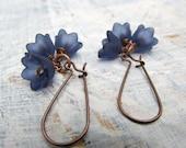 Navy Blue flower earrings winter dangle earrings Gift for her stocking stuffer bridesmaid jewelry