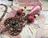 Pink heart Valentine necklace -  Valentine jewelry