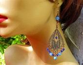 Blue Bohemian earrings blue chandelier earrings Bohemian jewelry