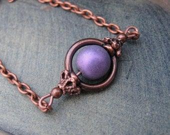 Rustic Purple Copper necklace Copper Jewelry