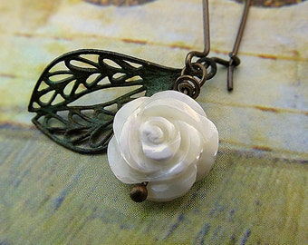 Valentine earrings White Rose earrings gift for her wedding jewelry
