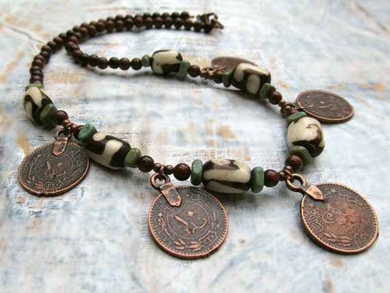 Coin Bohemian Necklace - Bohemian Jewelry - Gypsy Jewelry
