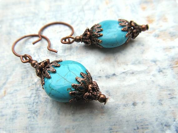 Turquoise earrings - Boho jewelry