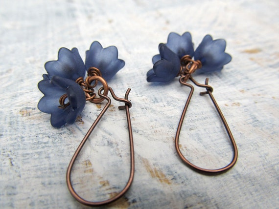 Navy Blue flower earrings  dangle earrings Gift for her  bridesmaid jewelry