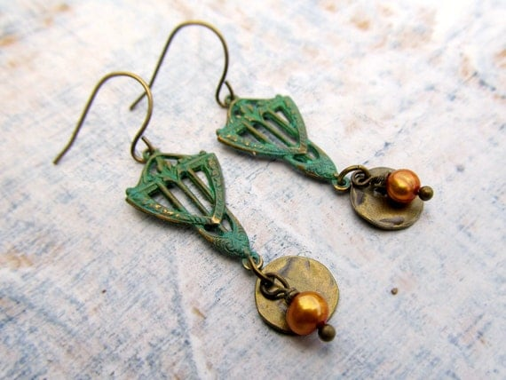 Patina Art Deco earrings Spring Fashion
