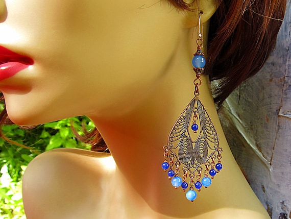 Blue Bohemian earrings blue chandelier earrings Bohemian jewelry