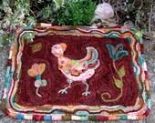Hooked Rug Pattern, Pretty Chicken Kitchen Rug
