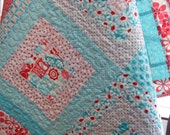 Forest Friends Quilt in Aqua & Red