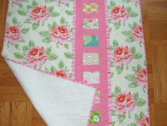 On Sale -Rose Garden Baby Quilt - Heather Bailey Nicey Jane Fabric Collection