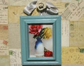 Victorian Era Framed Antique Picture Postcard Pink Red  Roses -in- BlueTall Pot Vintage Blues 5x7
