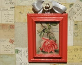 Victorian Era Framed Antique Picture Postcard Birthday Greetings Ruby Red Falling Rose 5x7