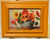 Vintage 1940's Era Framed Picture Postcard Assorted Potted Pansies Tangerine Orange 5x7